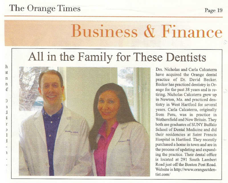 Announcement in Orange Times of dentists Nicholas and Carla Calcaterra buying the dental practice.