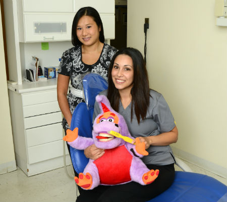 Orange CT dental hygienists Crystal and Kaylin