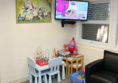 Kids corner in our dentist reception area Orange CT