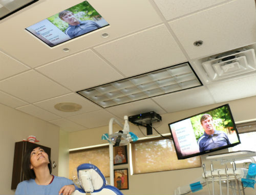 Ceiling mounted TV for dental office adults and kids
