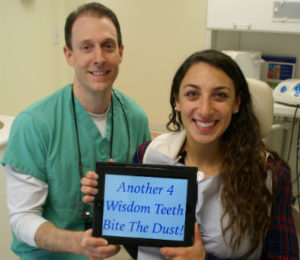 Husky State insurance patient after wisdom tooth oral surgery.